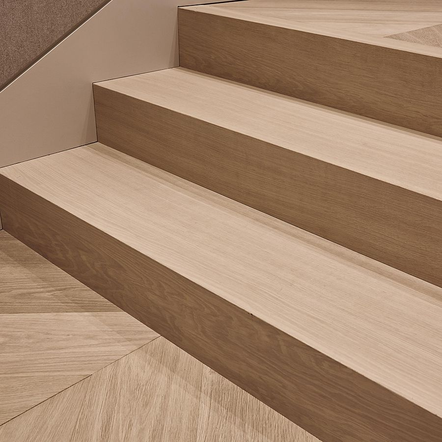 Ebony and Co project - Stairs - Continental Oak - Chevron Pattern - Handcrafted Hardwood Floors