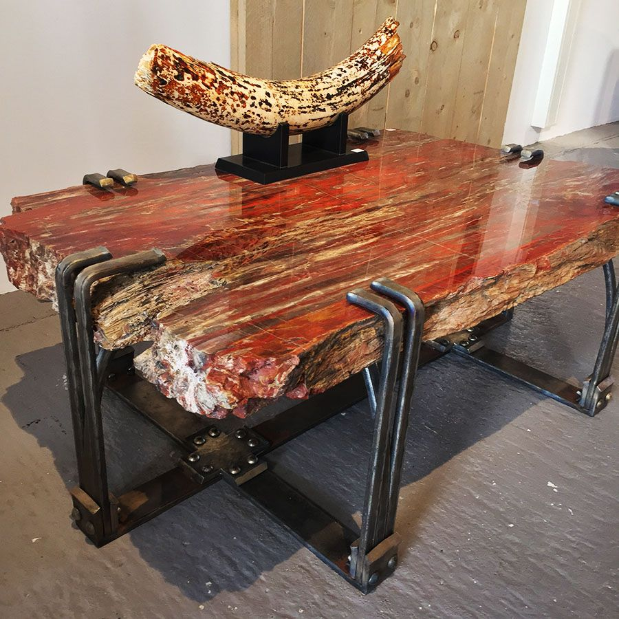 ebonyandco petrified wood table